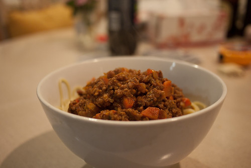 Steamy spaghetti bolognese