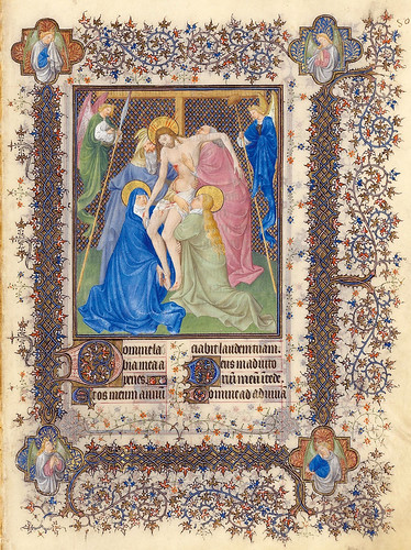 005-Horas de la Cruz-Descendimiento de la Cruz-Belles Heures of Jean de France duc de Berry-Folio 80r- ©The Metropolitan Museum of Art