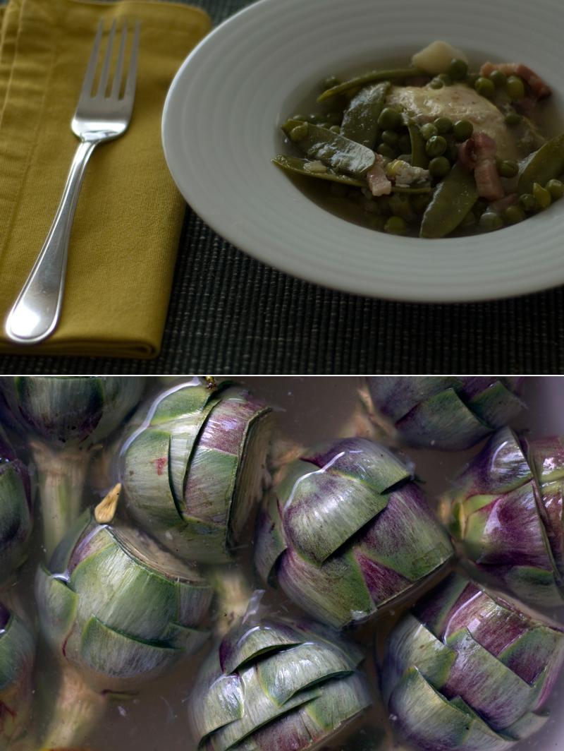 Alcachofras e ervilhas com ovos // Globe Artichokes Peas with Poached Eggs