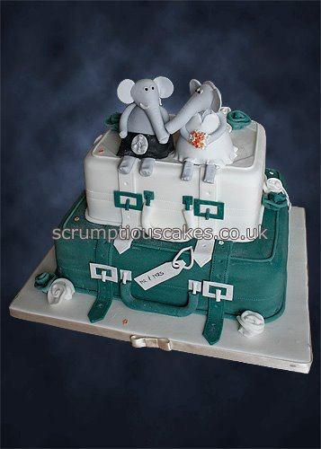 Wedding Cake 825 Teal Suitcases Elephants