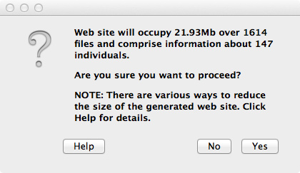 Mac Genealogy Software - GedScape Export - Web Warning
