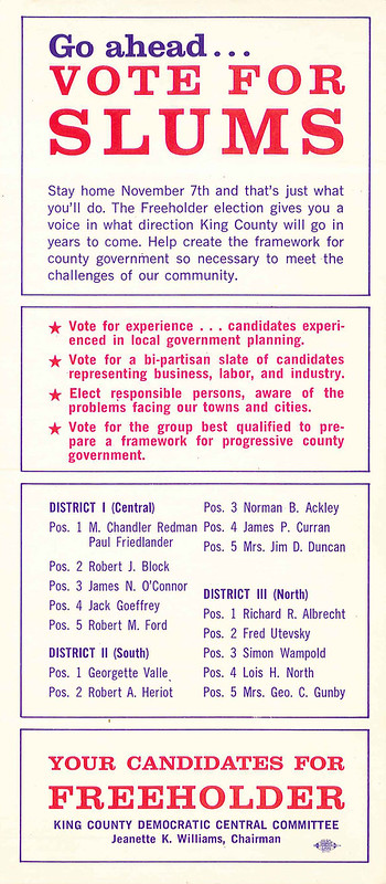 King County Freeholder election flyer, 1967