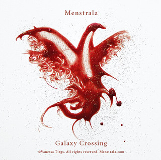 Vanessa Tiegs Menstrala--what looks like a bird made of blood is under the project's title, written in red