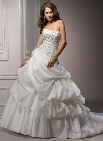 lace strapless ball gown bridal dress