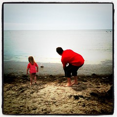 throwing rocks with daddy