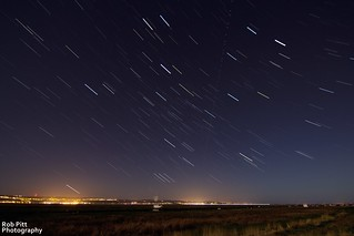 Startrail Over The Dee Marshes