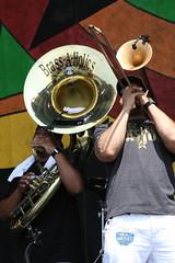 tuba(0.0), trumpet(0.0), guitar(0.0), drums(0.0), sousaphone(1.0), musician(1.0), musical instrument(1.0), music(1.0), brass instrument(1.0),