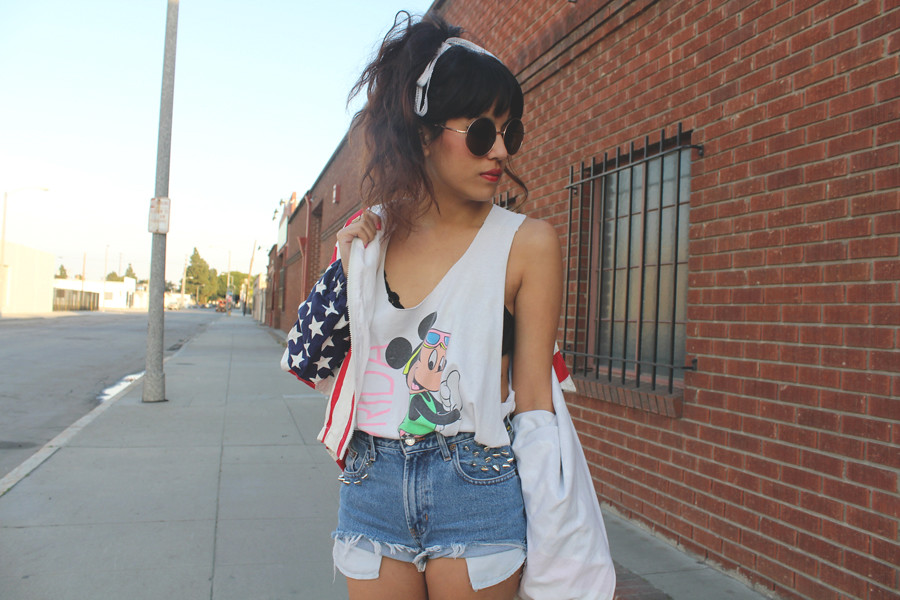 Vintage DIY spike studded destroyed denim cutt off shorts