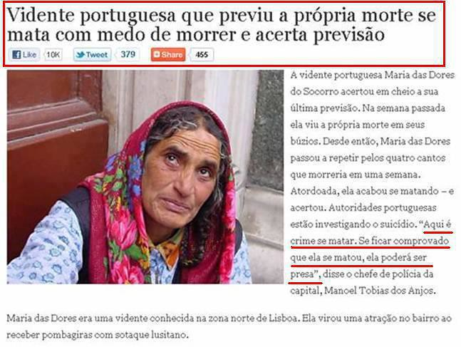 vidente portuguesa prevê a sua morte e suicida-se