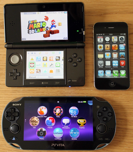 Nintendo 3DS, Apple iPhone 4S, and Sony PlayStation Vita