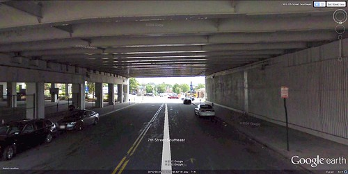 underneath the Southeast Freeway, Washington, DC (via Google Earth)