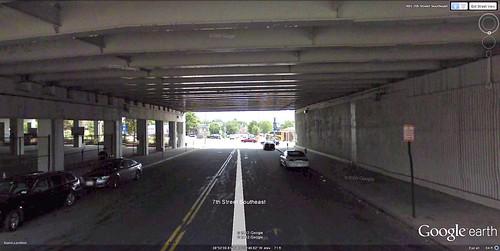 underneath the Southeast Freeway, Washington, DC (via Google Earth)