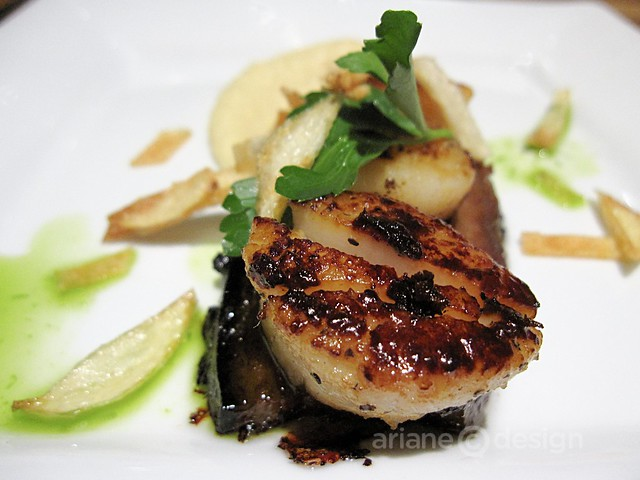 Crispy pork belly, scallop, and parsnip puree