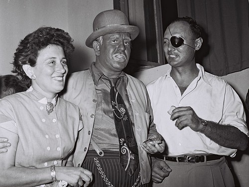 Moshe Dayan and His Wife Ruth with One of the Habima Actors