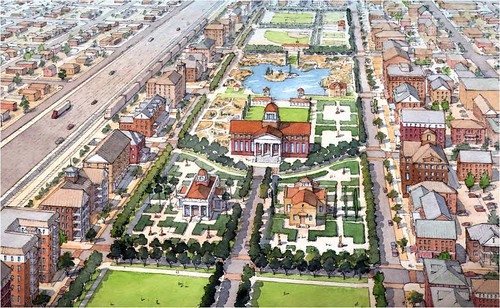 rendering of a new central park on the site of an old El Paso rail yard (by: Dover Kohl & Partners, via Plan El Paso)