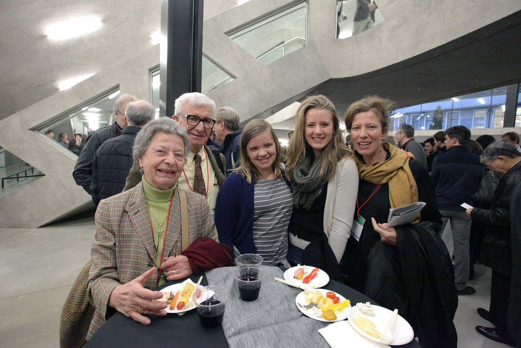 AAP alumna Ellen Bildsten (B.Arch. 88') on the far right, with daughters Mariel and Kate. Ellen's father and architecture alumnus Earnest Pospischil and his wife Maria.