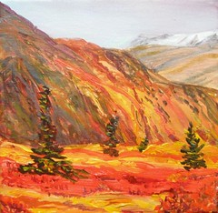 Original oil by Irvine of Dempster, Yukon (fall)