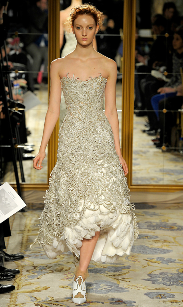 Marchesa 2012 feathered gowns