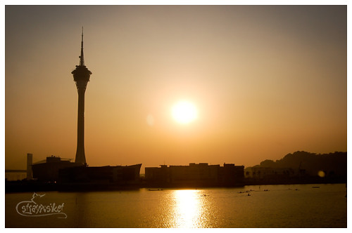 sunset at macau tower