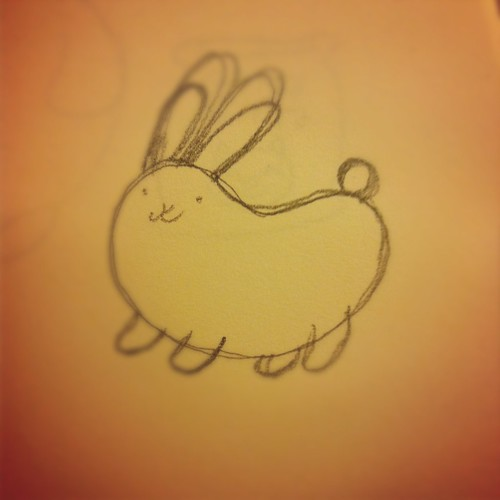 Bean bunny drawing.