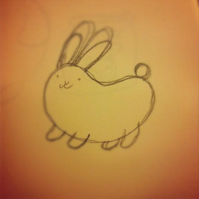 Bean bunny drawing.