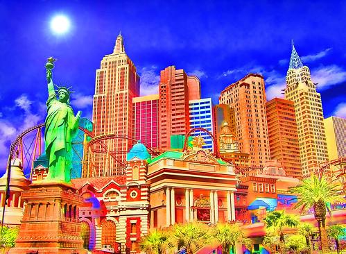 wild sun colorful lasvegas nevada cartoon casino palmtrees interpretive newyorknewyorkcasino jackaloha2 photoshopcs5