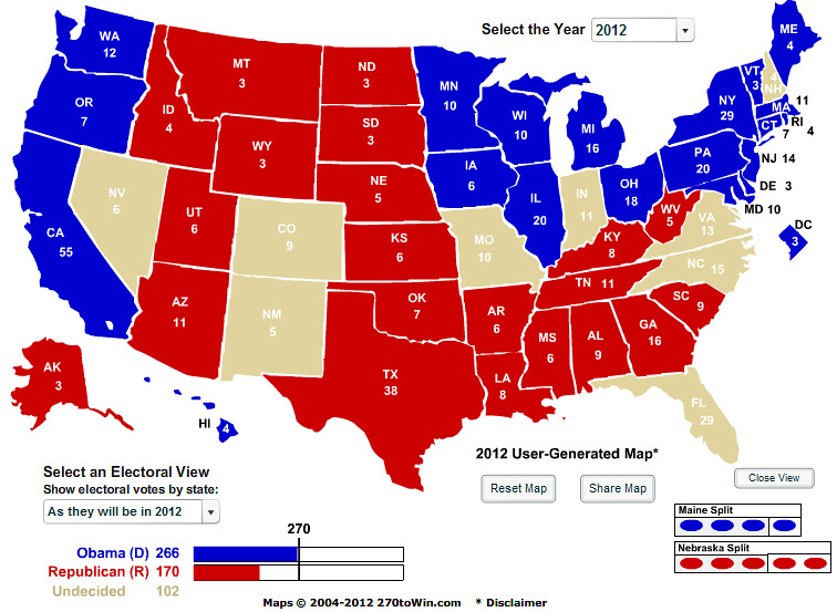 Us Election Electoral Map Calculator Globalinterco - Map of us without electoral college 2016