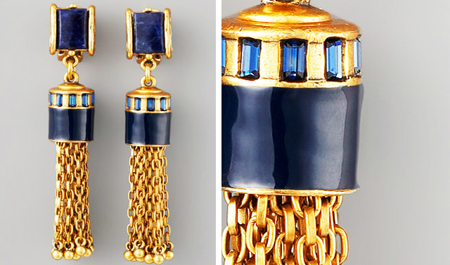 gold and navy chain drop earrings