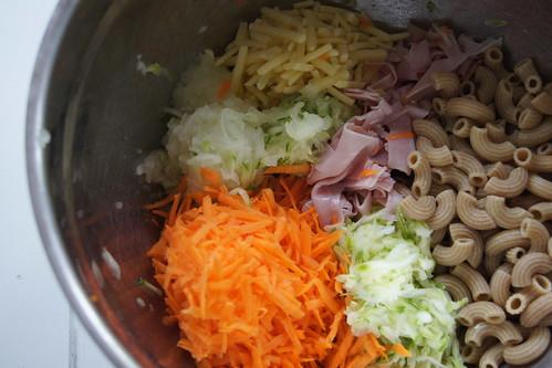 Zucchini and Pasta Slice - mixture