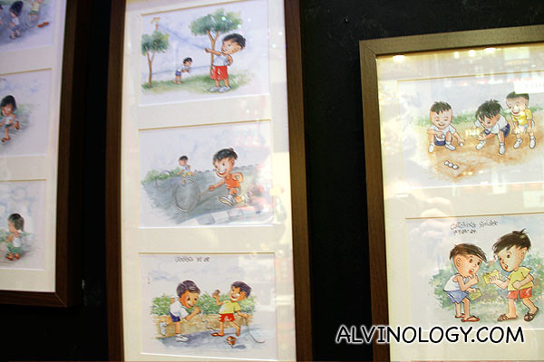 Kampong days water colour paintings