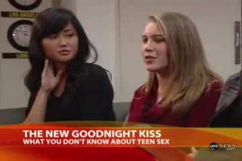 "One Asian teen and one white teen appear in a TV still in mid speech. There is a news program caption that reads ""What you don't know about teen sex"""