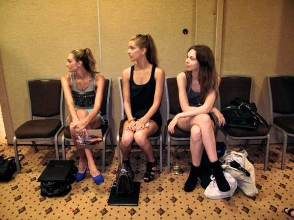Three models waiting for casting, L'Oréal Melbourne Fashion Festival LMFF