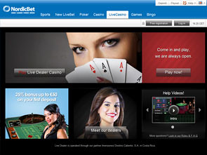 NordicBet Live Casino Home