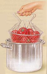 place tomatoes in wire basket