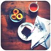 365 project. iPad2. Gluten-free Chocolate Chiffon cake. Roast peaches. A cup of tea.