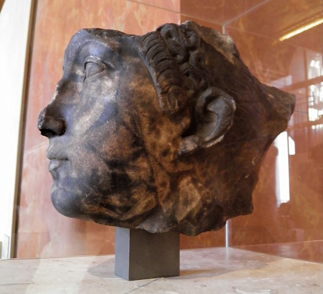 Burnt head of Sabina, wife of Hadrian, found in the harbor of Toulon (France), c. 120 AD, Louvre Museum