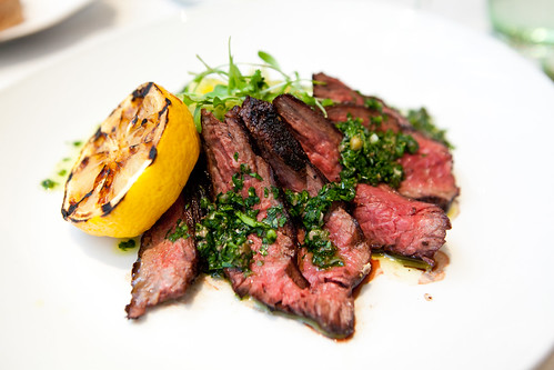 Charred hanger steak
