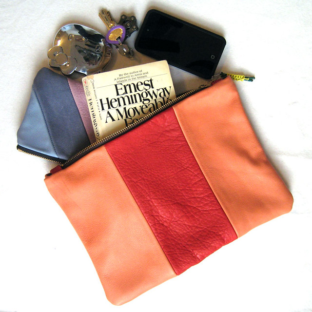 orange/red leather pouch