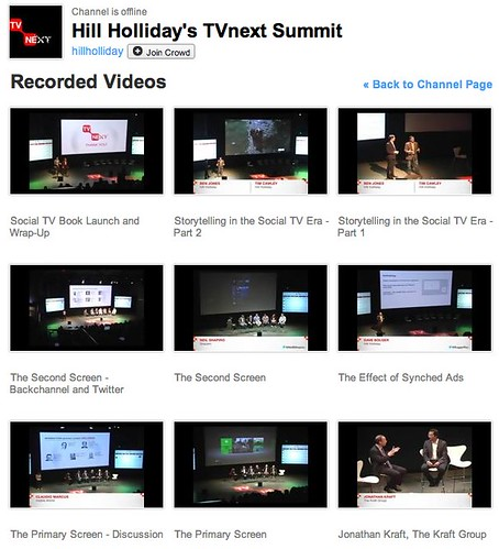 Archived LIVE Videos of Hill Holliday's TVnext Summit on USTREAM by stevegarfield