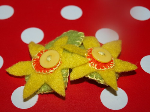 , Wednesday – Felt Daffodil Clips