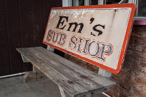 Em's Sub Shop bench