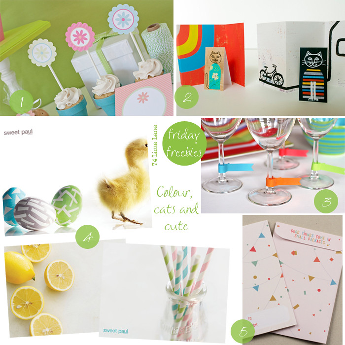 {friday freebies} colour, cats and cute