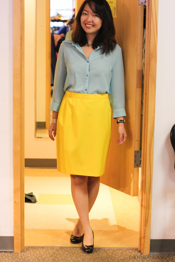 mint blouse and yellow pencil skirt