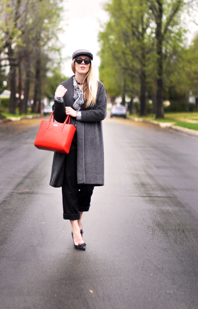 gray and black outfit - red  bag and newsboy cap
