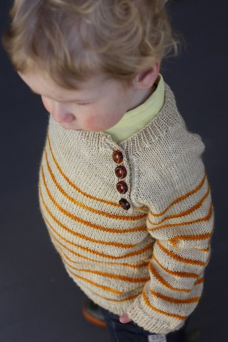 Striped Toddler Pullover, Button Detail