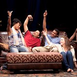 Nikkole Salter as Taylor, Jason Dirden as Kent, Billy Eugene Jones as Flip, and Rosie Benton as Kimber in the Huntington Theatre Company's production of STICK FLY playing at the Calderwood Pavillion. Part of the 2009-2010 season.