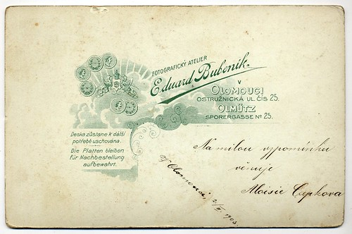Eduard Bubeník, Olomouc - Verso by oldichvondich (josefnovak33´s Alter Ego)