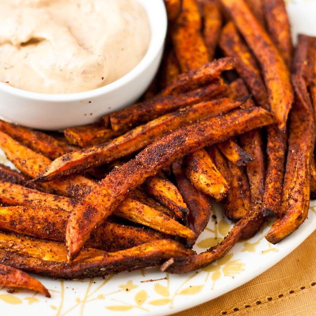 Baked Sweet Potato Fries and Chipotle Ranch Dressing Recipe