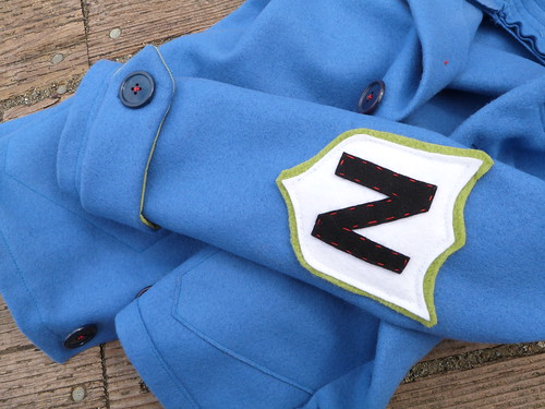 blauwe wollen jas