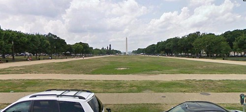 Tha National Mall, looking west (via Google Earth)